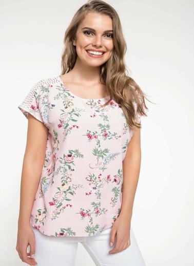 DeFacto Dantel Detaylı Çiçek Desenli Bluz Pembe